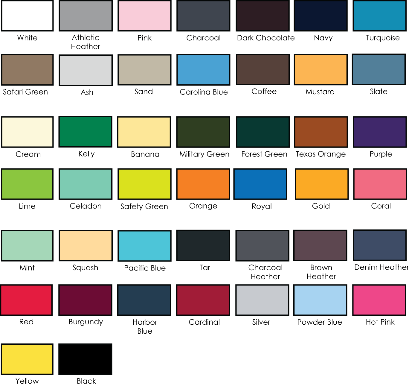 Alstyle 60oz jersey cotton tee adver t screen printing color chart 1301imagecolors nvjuhfo Image collections