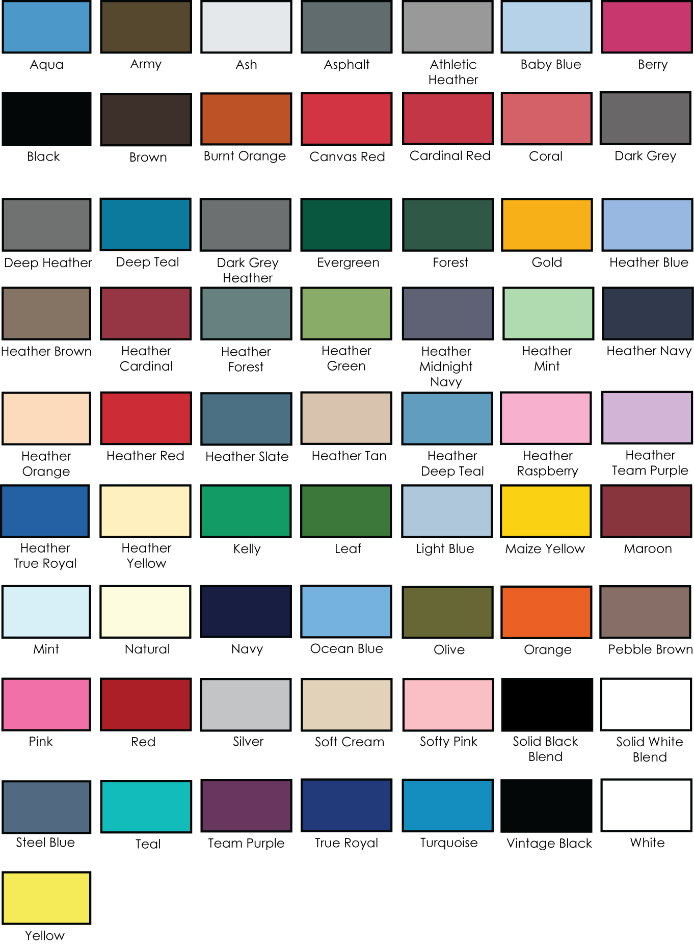 Bellacanvas 3001 unisex jersey tee adver t screen printing color chart 3001imagecolors nvjuhfo Image collections