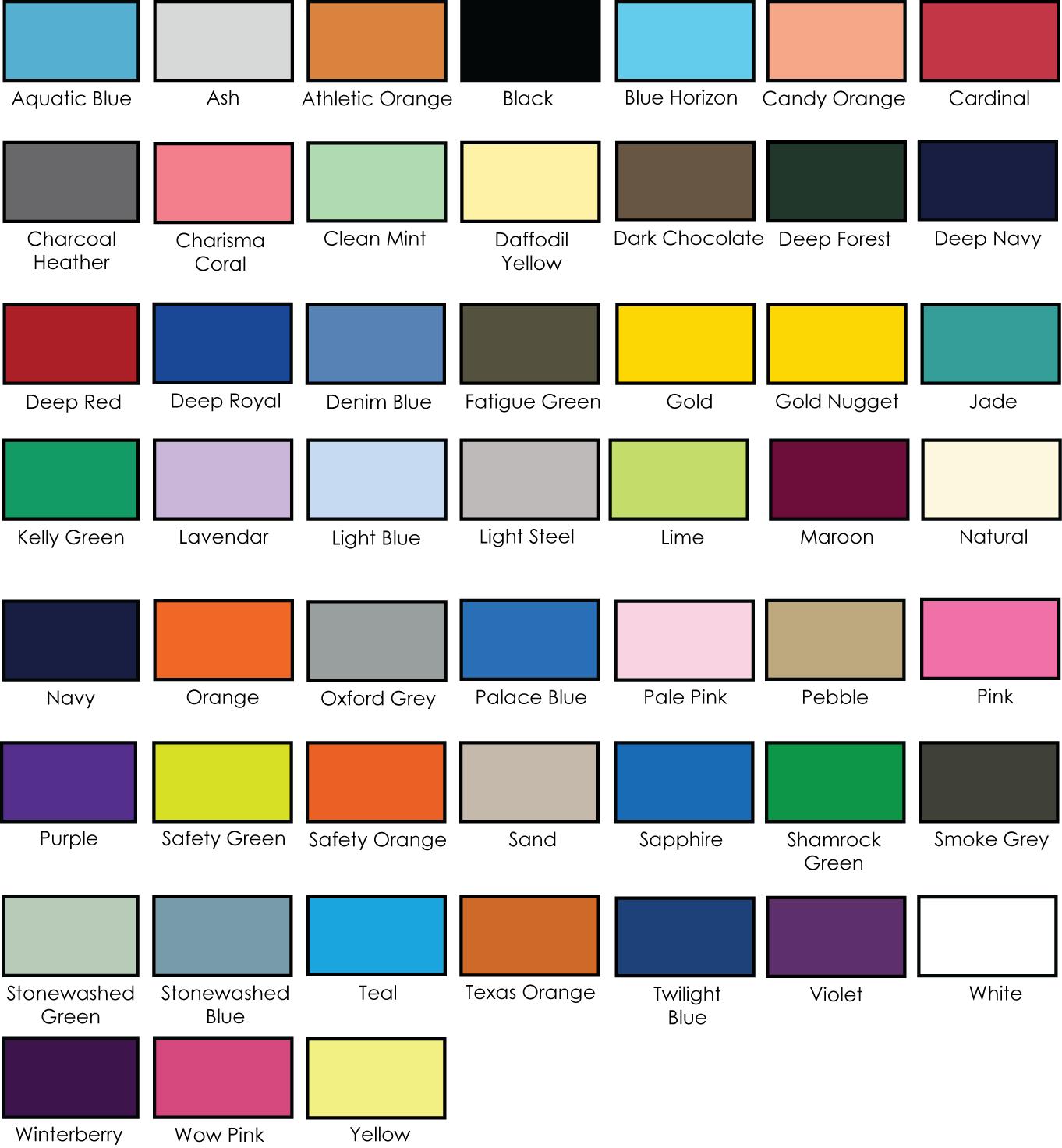 Hanes 5250 61oz tagless tee adver t screen printing color chart 5250imagecolor nvjuhfo Image collections